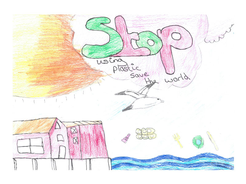 Stop using plastic, save the world by Harvey, 13